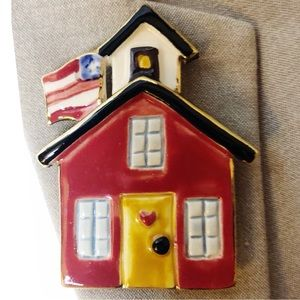 Vintage Ceramic Red Schoolhouse Teacher Brooch Pin